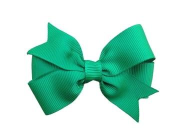 3 inch green hair bow - green bow, toddler bows, girls hair bows, baby bows, pinwheel bows, 3 inch bows, girls bows, girls hair clips