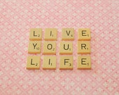 Live Your Life Vintage Letters Word Photograph, Pink Wall Art, 5 x 7 Fine Art Photography