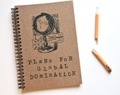 funny notebook journal Plans For Global Domination journal gift steampunk
