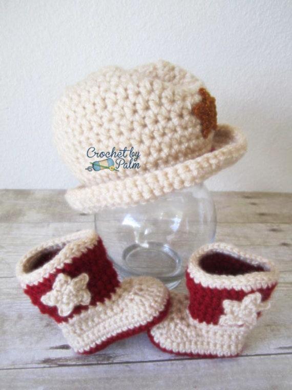 Cowboy Hat Cowboy Boots Crochet set, Baby Hat, Baby Shoes, Photo props