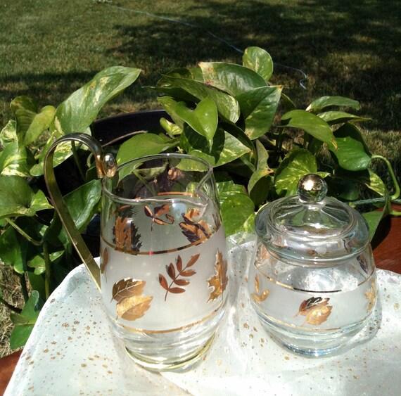 Vintage Cream and Sugar Set Libbey Golden Foliage Pattern