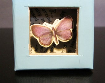 Small Box Diorama - Shadowbox with Recycled Book Pages - Butterfly - Blue, Purple
