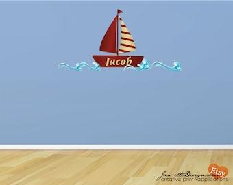 SailBoat and Waves Fabric Wall Decal