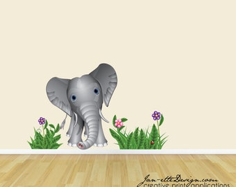 Kids Jungle Wall Decals, Baby Elephant Wall Decal Set, Jungle Theme Wall Decals