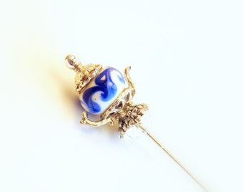 Hat Pin, Blue and White, Teapot, Scarf Pin, Lapel Stick Pin