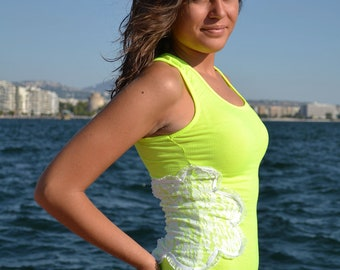 Lime Neon Tank Top with Lace Flower Neon Top Lime Shirt - Handmade by PinkSugArt Women Accessories