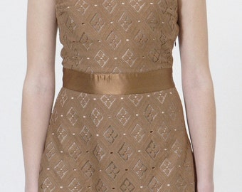 SALE Copper Lace V-neck Dress w.Silk Waistband. LACE Party Dress Lined in Silk. Festive