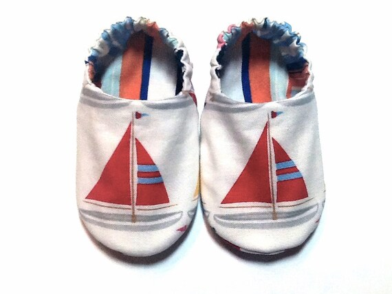 Nautical Sailboat Baby Boy Shoes, 0-6 mos. Baby Booties, Baby Gift