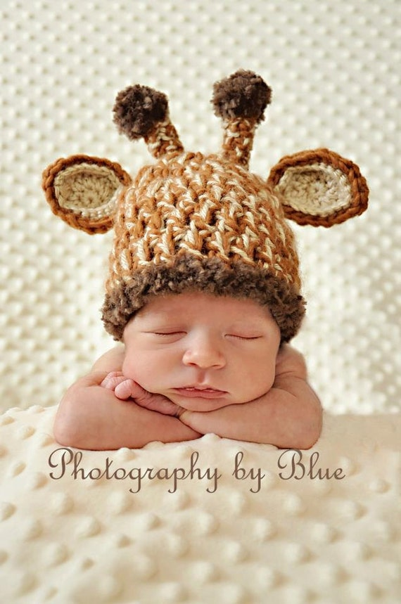 Crochet Hat Pattern Baby Giraffe Beanie Hat : Items similar to The Original Unique Newborn Baby Crochet ...