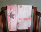 NOW ON SALE. Baby quilt - handmade in cream and pinks with Nani Iro backing.