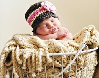 Newborn Baby Girl Hat Newborn Baby Hat Baby Girl Clothes Newborn Photo Prop Newborn Hat Brown Baby Hat Cream Pink Crochet Flower Hat Flapper