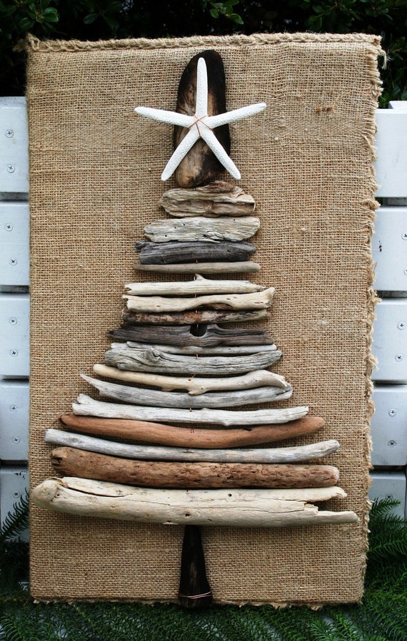 Driftwood christmas tree with sea star and by for Hanging driftwood christmas tree