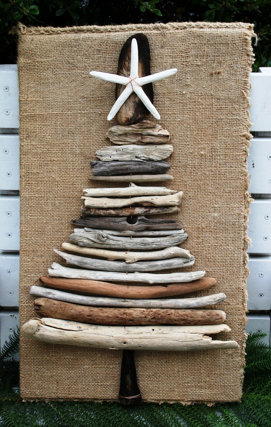 Driftwood Christmas Tree With Sea Star And Burlap Base Rustic