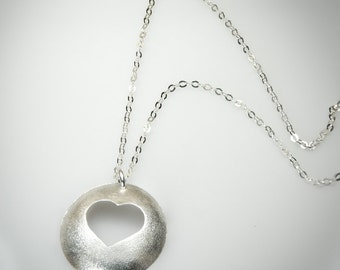 Sterling Silver Heart Necklace, brushed finish,valentines day, One of a kind Jewelry Handmade