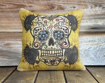 Sugar Skull Pillow, Decorative Throw Pillow, Day of the Dead, Día de los Muertos