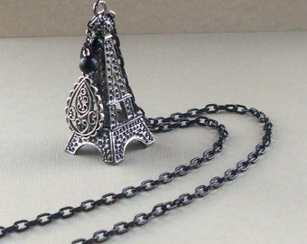 Eiffel Tower 3D Pendant Chunky Gunmetal Paris Steampunk French Large Necklace Black Silver Long Fashion Paisley Free Shipping