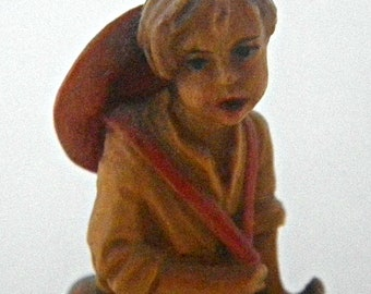 Vintage ANRI Italy Handcarved Wood Figurine of a Peasant Boy 2 1/2""