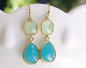 Aqua and Mint Green Earrings in Gold - Blue and Green Earrings on Gold Filled Earwire - Bridesmaid Earrings, Beach Wedding, Bright Earrings