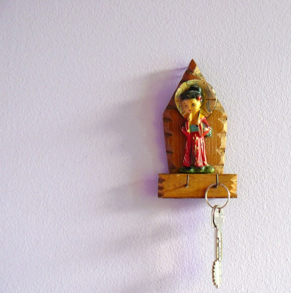 Vintage carved wood key hook. geisha girl statuette. rustic key rack