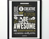 """Motivational Poster """"Be kind Be greater Be awesome"""" Inspirational Print, Typography Poster, Motivational Wall Art, Inspirational Quote Print"""