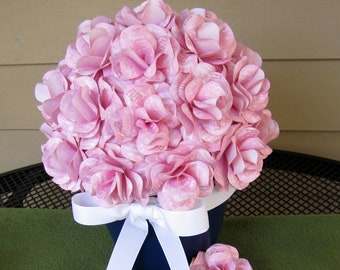 Custom Paper Rose Centerpiece for Wedding, Bridal or Baby Shower, Christening, Birthday, or Anniversary Personalize the Print and Colors