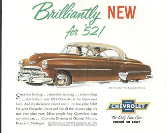 Chevrolet Bel Air Vintage Car Ad 1950s Chevy Two Tone Brown Coupe 1952