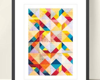 Geometric Art, Tangram Print, Abstract Poster A3 Wall Art Decor. Scandinavian design. Bright Colors. Geometric print. TANGRAMartworks