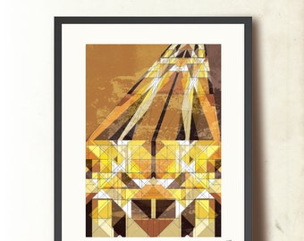 Geometric art poster print. Fathers day gift. Fall Into You Art Print, A3 wall art. Geometric print, Autumn colors. Art for him