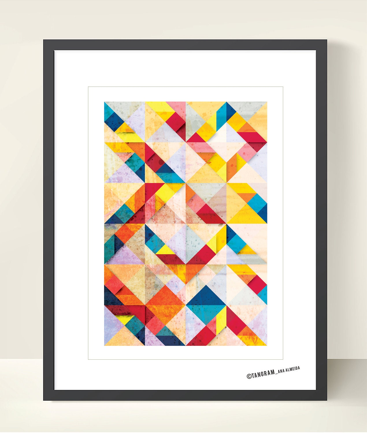 Geometric Design Wall Art : Mid century modern poster bright colors geometric print