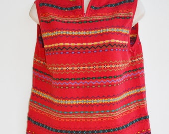 Vintage 90's Aztec Knitted Sweater Red with stripes Aztec Shirt Sweater