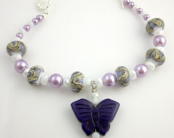 Purple and White Butterfly Beaded Crystal Lampwork Bracelet, Lampwork Beads Bracelet, Valentine Day, Gifts for Her