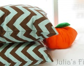 Chevron Decorative Pillow Set of Two (2) Geometric Covers Brown Light Aqua Blue