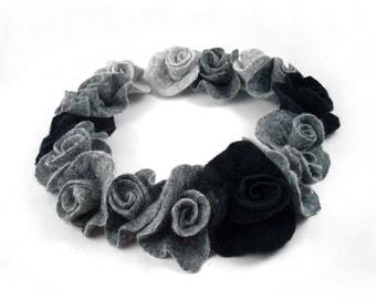 Felted Nacklace NunoFelt Collar wild Felt Nunofelt ArtJewerly Nuno felt Silk Silkyfelted Eco fairy floral Fiber Art