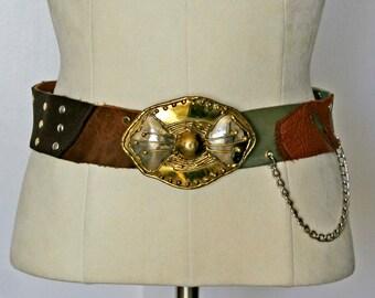Steampunk road warrior leather piece belt. Buy hand made