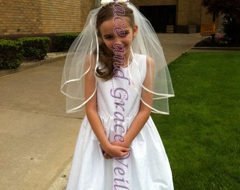 First Communion Veil,  White with Bow on Comb/Barrette