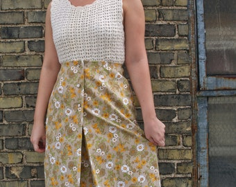 SALE/Floral High Waist Skirt/Pleated Skirt/Yellow Skirt/Vintage Skirt/Button Down Skirt/Retro/Pencil Skirt/50's/60's/Casual/Fall/Autumn/Chic