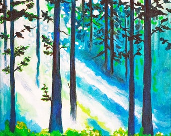 Art, Forest in blue tones, light shining through the trees, landscape painting, aqua, royal blue, painting commission