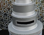 Wedding Card Box  Silver & White  Bling Mesh Wrap