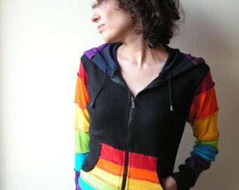 Rainbow  Pixie  Hoodie - Psy Jacket - Tribal  - Elf  - Pixie Hood - Women  - Hippie