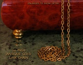 Antique Gold, 24 inch, Oval Link Chain, Necklace, Lobster Claw Clasp, Matches Our Antique Gold Pendants (ADA-LCAG001)