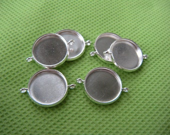 100 pcs 14mm Blank Pendant Trays Two Loop Connector Charm, Silver Bezel Setting Blank Two holes connector, photo jewelry supply  wholesale