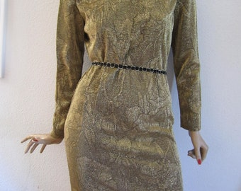 Gold sheath dress long sleeve with belt Frederick's of Hollywood