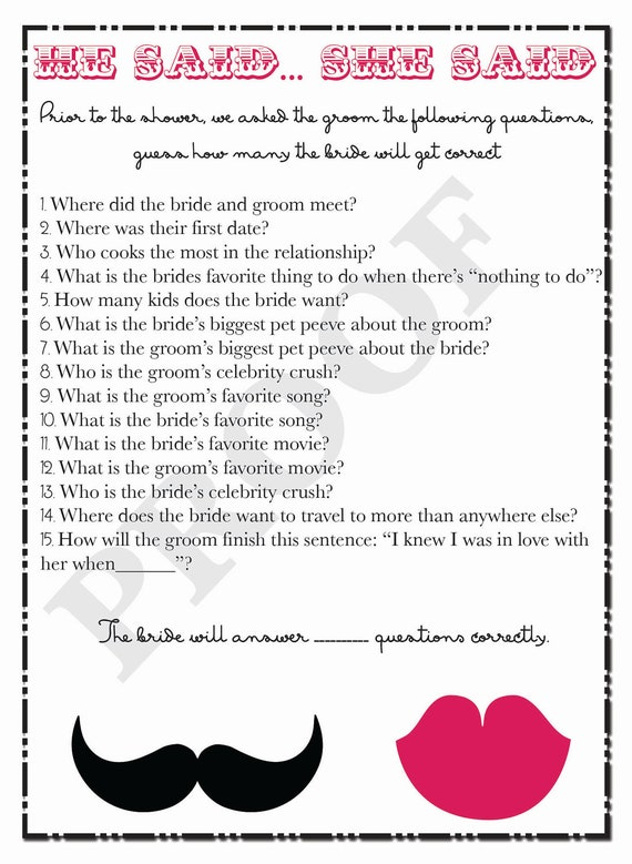 Bridal Shower Game  He Said She Said Questions  Printable Game For Couples  Shower  Mustache And Lips Shower Game