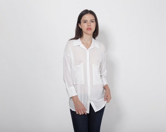 White Tunic Top, Women White Blouse, White Shirt, Sheer Top, See Through Blouse, Formal Top, Casual Shirt, Long Sleeve Shirt, Long Shirt