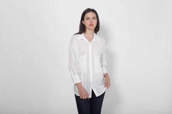 White Tunic Top, Women White Blouse, White Shirt, Sheer Top, See Through Blouse, Formal Top, Casual Shirt, Long Sleeve Shirt, Long Shirt