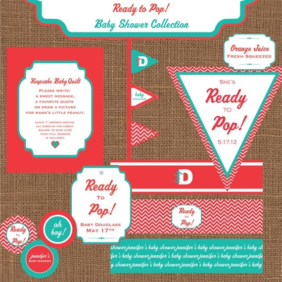 ready to pop baby shower party kit diy by jmichellestudio on etsy
