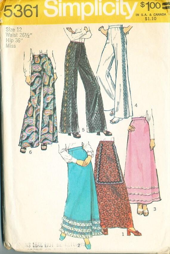 simplicity 5361 palazzo pants maxi skirt pattern waist