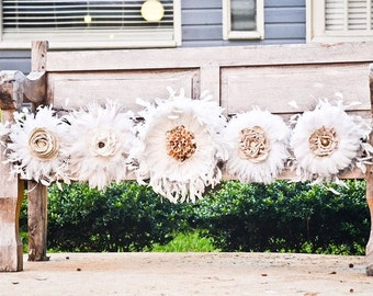 Feather Bouquet - Weddings, Peacock bouquet, White/Ivory bouquet, Brides bouquet, Bridal Party, Nature Inspired, Set of Bouquets