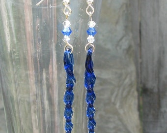Lampwork, Handmade, Cobalt Blue Glass Icicle Earrings, with Swarovski Crystals