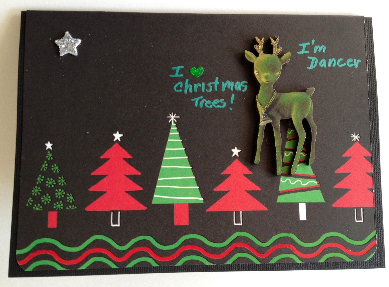 3D Reindeer Dancer Handmade Christmas Card by OtherworldlyCards